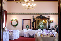 Wedding venue. Interior view of an event venue ready for a wedding Royalty Free Stock Images