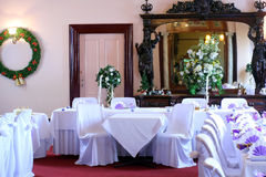 Wedding venue and mirror. Cropped view of a reception venue prepared for a wedding Stock Photo