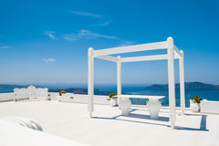 Wedding venue on the roof with sea view Royalty Free Stock Photo