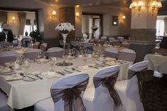 Wedding Venue set up. Luxurious wedding venue ready for newlyweds and wedding breakfast Royalty Free Stock Photography
