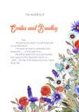 Wedding vertical frame of wild flowers. Watercolor. Flower arrangement. Greeting card template design. Invitation stock illustration