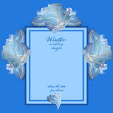 Wedding vertical frame with winter frozen glass design. Text place. Stock Images