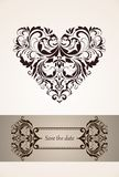 Wedding vertical invitation with vintage floral heart shape Stock Photos