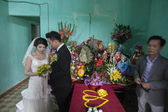 Wedding in the village near Hanoi Royalty Free Stock Image