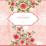 Wedding vintage background with roses Stock Images