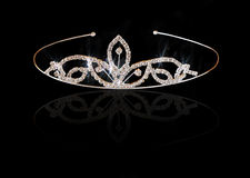 Wedding vintage crown of bride, isolated on black Stock Images