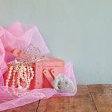 Wedding vintage crown of bride, pearls and pink veil. wedding concept. selective focus. vintage filtered Royalty Free Stock Images