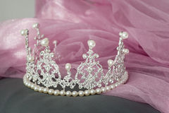 Wedding vintage crown of bride, pearls and veil. Royalty Free Stock Photography