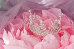 Wedding vintage crown of bride, pearls and veil. Royalty Free Stock Photo