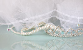 Wedding vintage crown of bride, pearls and veil. wedding concept Royalty Free Stock Photography