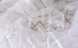 Wedding vintage crown of bride and veil. wedding concept Stock Photos