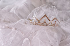 Wedding vintage crown of bride and veil. wedding concept Stock Image