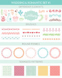 Wedding vintage elements big collection. Romantic hand drawn floral set with different elements. Romantic vector elements for card Stock Photos