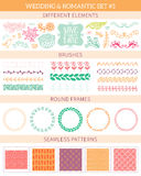 Wedding vintage elements big collection. Romantic hand drawn floral set with different elements. Romantic vector elements for card Stock Photo