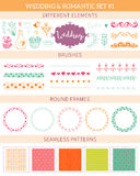 Wedding vintage elements big collection. Romantic hand drawn floral set with different elements. Romantic vector elements for card Stock Images
