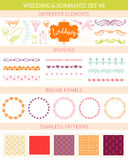 Wedding vintage elements big collection. Romantic hand drawn floral set with different elements. Romantic vector elements for card Royalty Free Stock Photography