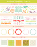 Wedding vintage elements big collection. Romantic hand drawn floral set with different elements. Romantic vector elements for card Royalty Free Stock Image