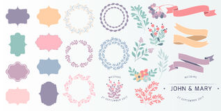 Wedding vintage elements big collection. Romantic hand drawn vector floral set with frames, flowers, leaves and ribbons Stock Images