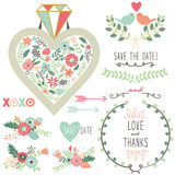 Wedding Vintage Flora Diamond Elements Stock Photography