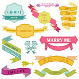 Wedding Vintage Frames, Ribbons Stock Photo