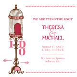 Wedding Vintage Invitation Card. Bird Cage Theme - for design, scrapbook - in Royalty Free Stock Photos