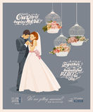 Wedding vintage invitation card template vector with bride and groom Stock Photo