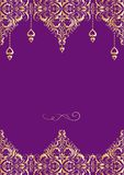 Wedding vintage invitation with floral golden pattern and hanging hearts Stock Photography