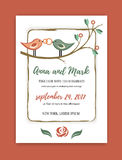 Wedding vintage invitation in retro design with the birds and rings. vector illustration Royalty Free Stock Photo