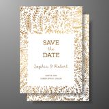 Wedding vintage invitation,save the date card with golden twigs and flowers. Cover design with gold botanical ornaments. Gold cards templates for save the date Stock Photo