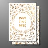Wedding vintage invitation,save the date card with golden twigs and flowers. Cover design with gold botanical ornaments. Gold cards templates for save the date Stock Photos