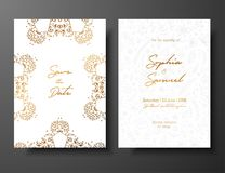 Wedding vintage invitation,save the date card with golden twigs and flowers. Cover design with gold botanical ornaments. Gold cards templates for save the date Stock Images