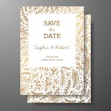 Wedding vintage invitation,save the date card with golden twigs and flowers. Cover design with gold botanical ornaments. Gold cards templates for save the date Royalty Free Stock Photos