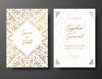Wedding vintage invitation,save the date card with golden twigs and flowers. Cover design with gold botanical ornaments. Gold cards templates for save the date Royalty Free Stock Photo