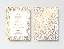Wedding vintage invitation,save the date card with golden twigs and flowers. Cover design with gold botanical ornaments. Gold cards templates for save the date Royalty Free Stock Photography
