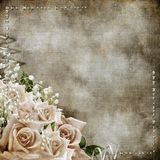 Wedding vintage romantic background with roses. Diamonds, pearls vector illustration