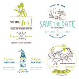 Wedding Vintage Set. Save the Date. Wedding Card Stock Photos