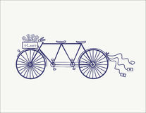 Wedding Vintage tandem bicycle vector icon llustration isolated Royalty Free Stock Photos