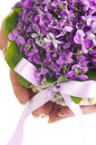 Wedding violet bouquet in the hands of a bride Stock Photos