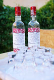 Wedding vodka bottles Stock Images