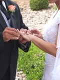 Wedding Vows. Wedding rings, vows, committment, love, marriage, I do, matrimony, special day, hands Stock Image