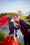 Wedding. Walk. Kiss. Stock Photography