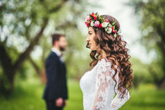 Wedding walk on nature. Bride and groom together Stock Photo