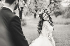 Wedding walk on nature. Bride and groom together Royalty Free Stock Photography