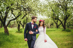 Wedding walk on nature. Bride and groom together Royalty Free Stock Images
