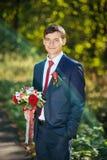Wedding walk on nature with horse. I n Ukraine Stock Images