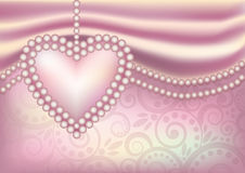 Wedding wallpaper with pearl heart Stock Photography