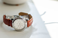 Wedding watch. With brown leather strap groom accessories groom Stock Images