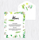 Wedding watercolor menu template. Floral pattern royalty free illustration