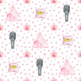 Wedding  watercolor seamless pattern Royalty Free Stock Photography