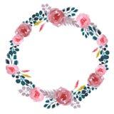 Wedding  watercolor wreath stock illustration